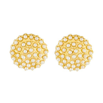 Kriaa Gold Plated Pearl Stud Earrings - 1310047