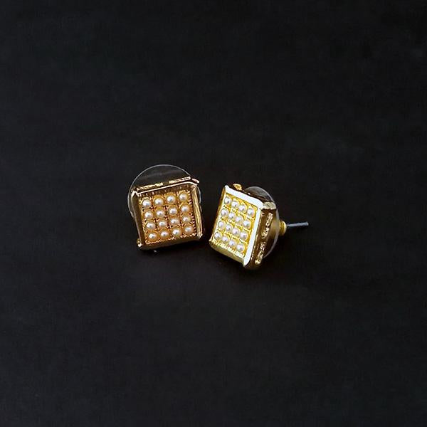 Kriaa Pearl Stud Gold Plated Earrings - 1310064