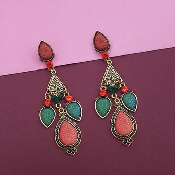 Kriaa Gold Plated Maroon And Green Austrian Stone Dangler Earrings - 1310307