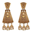 Kriaa Brown Austrian Stone Gold Plated Dangler Earrings - 1310555