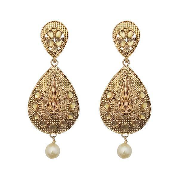 Kriaa Gold Plated Brown Kundan Dangler Earrings - 1310578
