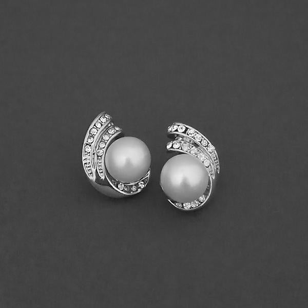Kriaa Silver Plated White Austrian Stone Stud Earrings - 1310740