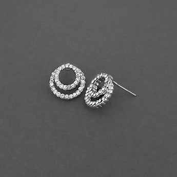 Kriaa Silver Plated White Austrian Stone Stud Earrings - 1310758