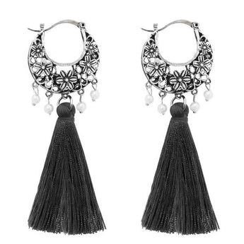 Tip Top Fashions Grey Thread Rhodium Plated Earrings - 1310952C