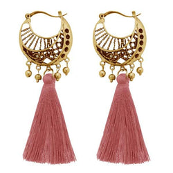 Tip Top Fashions Gold Plated Brown Thread Earrings - 1310953B