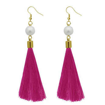 Tip Top Fashions Pink Thread Gold Plated Thread Earrings - 1310964A