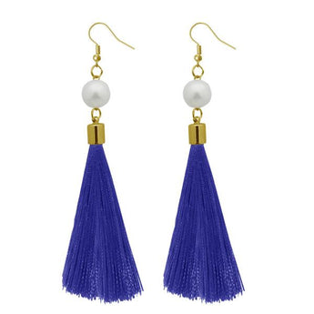 Tip Top Fashions Blue Thread Gold Plated Thread Earrings - 1310964B