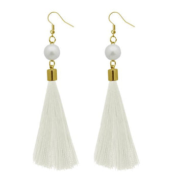 Tip Top Fashions White Gold Plated Thread Earrings - 1310964E