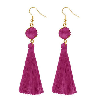Tip Top Fashions Purple Thread Gold Plated Earrings - 1310965A