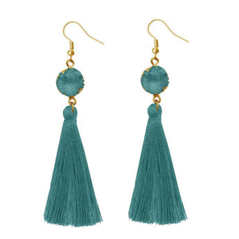Tip Top Fashions Green Thread Gold Plated Earrings - 1310965D