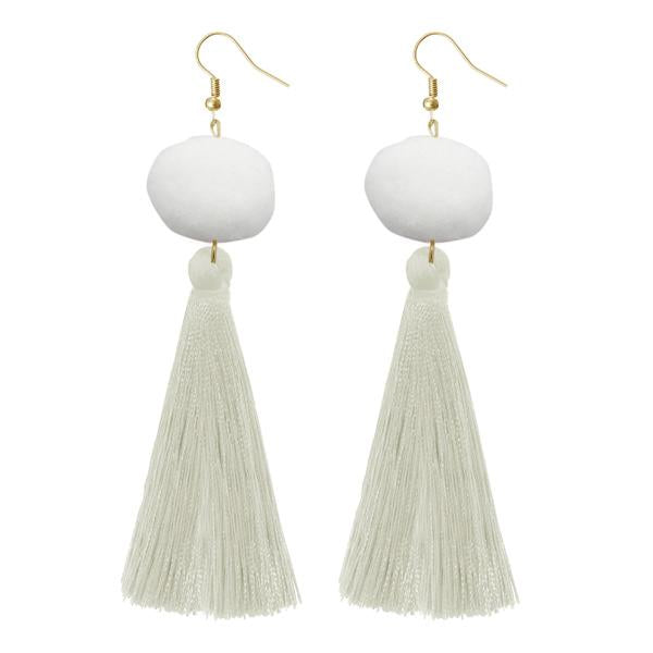 Jeweljunk White Thread Gold Plated Earrings