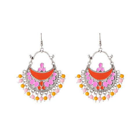 Tip Top Fashions Beads Rhodium Plated Meenakari Afghani Earrings - 1311210A