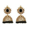 """Kriaa Gold Plated Black Beads Jhumki Earrings - 1311348F"