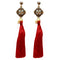 Tip Top Fashions Kundan Pearl Red Thread Gold Plated Earring - 1311414F