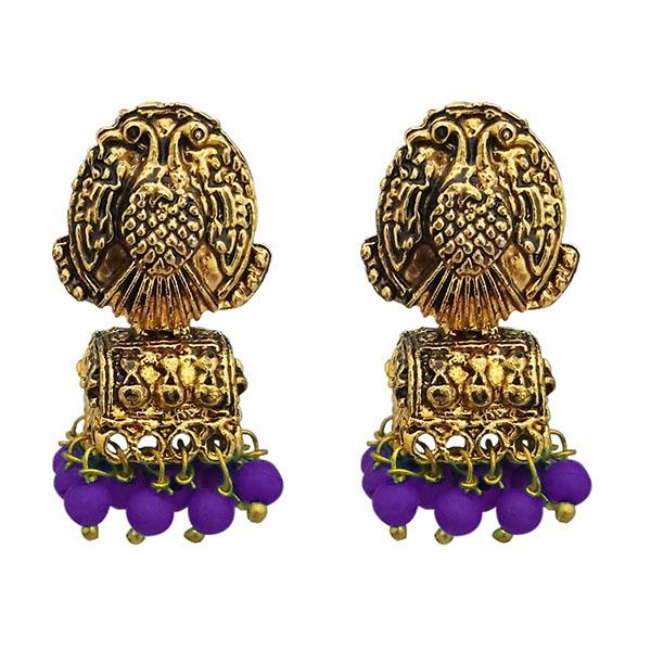 Kriaa Antique Gold Plated Beads Purple Jhumki Earrings - 1311526B