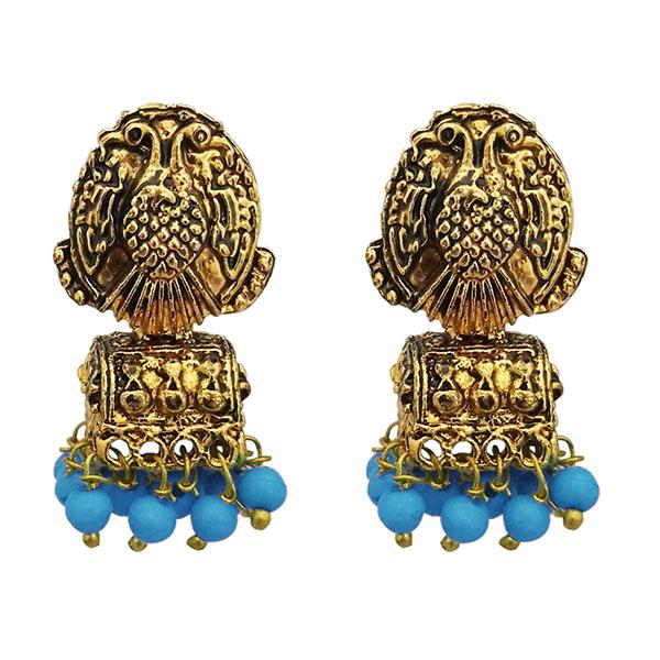 Kriaa Antique Gold Plated Beads Blue Jhumki Earrings - 1311526C
