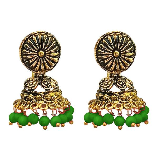 Kriaa Antique Gold Plated Green Beads Jhumki Earrings - 1311527E