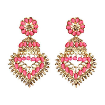 Kriaa  Austrian Stone Dangler Jhumki Earrings - 1311534D