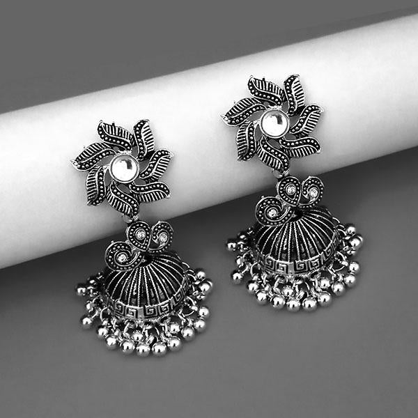 Jeweljunk Oxidised Plated White Kundan Jhumki Earrings