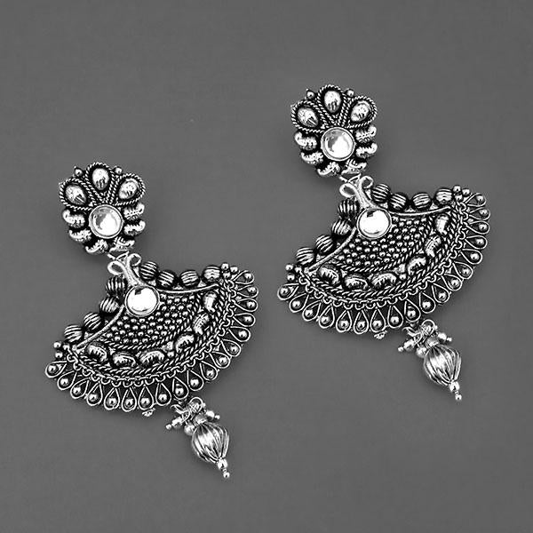 Jeweljunk Oxidised Plated Kundan Dangler Earrings