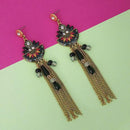 Urthn Black Meenakari Stone Chain Drop Tassel Earrings - 1311825E