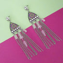 Urthn White Stone Rhodium Plated Chain Drop Tassel Earrings  - 1311826F