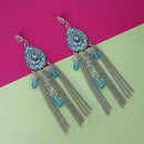Urthn Blue Stone Rhodium Plated Chain Drop Tassel Earrings - 1311827A