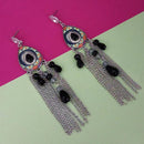 Urthn Rhodium Plated Black Stone Chain Drop Tassel Earrings - 1311827E