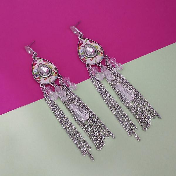 Urthn Rhodium Plated Pink Stone Chain Drop Tassel Earrings - 1311827F