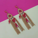 Urthn Maroon Stone Chain Drop Tassel Earrings - 1311828B