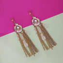 Urthn Gold Plated White Stone Chain Drop Tassel Earrings  - 1311828F