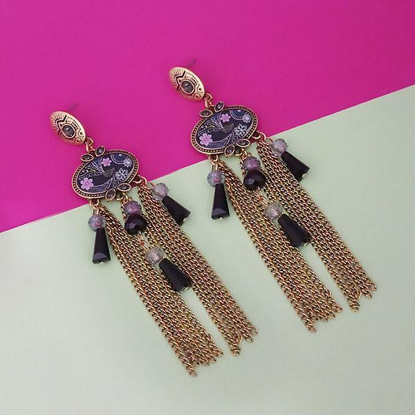 Urthn Gold Plated Black Stone Chain Drop Tassel Earrings - 1311829E