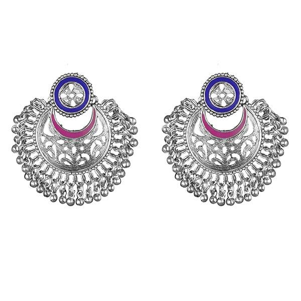 Kriaa Blue And Pink Meenakari Silver Plated Afghani Earrings - 1311906J