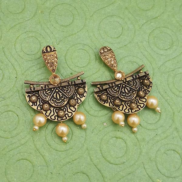 Tip Top Fashions Gold Plated Pearl Dangler Earrings - 1312027B