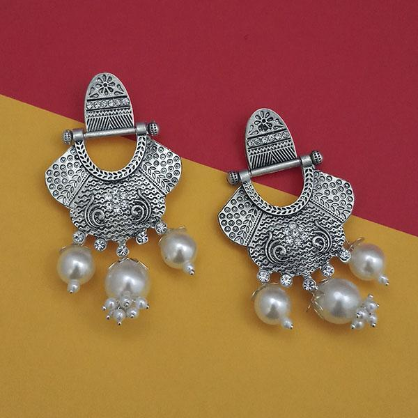 Tip Top Fashions Oxidised Pearl Dangler Earrings - 1312028A