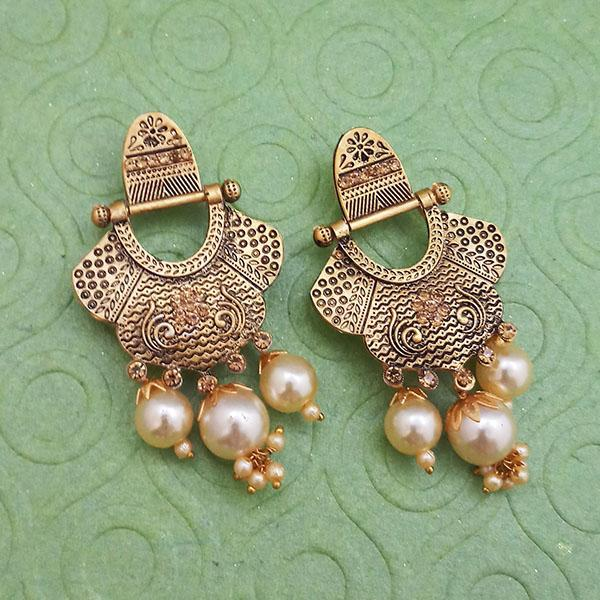 Tip Top Fashions Gold Plated Pearl Dangler Earrings - 1312028B
