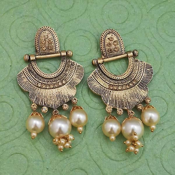 Tip Top Fashions Gold Plated Pearl Dangler Earrings - 1312031B