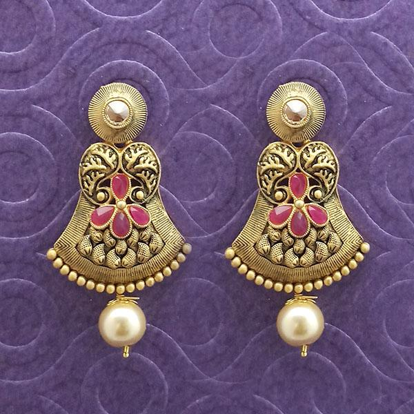 Kriaa Antique Gold Plated Pink Stone Dangler Earrings - 1312034B