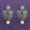 Kriaa Black Stone Oxidised Dangler Earrings - 1312036A