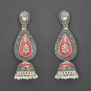 Kriaa Silver Plated Stone And Red Meenakari Matte Dangler Earrings - 1312052B