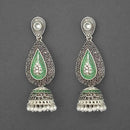 Kriaa Silver Plated Stone And Green Meenakari Matte Dangler Earrings - 1312052E