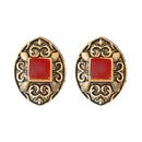 Kriaa Opaque Stone Antique Gold Plated Stud Earrings - 1312213C
