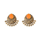 Kriaa Antique Gold Plated Yellow Opaque Stone Stud Earrings - 1312214F