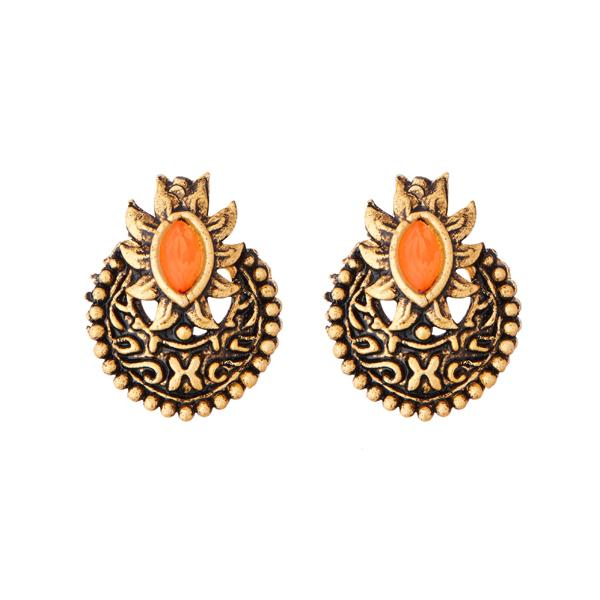 Kriaa Antique Gold Plated Orange Opaque Stone Stud Earrings - 1312219F