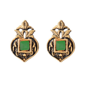 Kriaa Opaque Stone Antique Gold Plated Stud Earrings - 1312224B