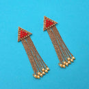 Kriaa Red Austrian Stone Gold Plated Dangler Earrings - 1312248