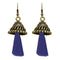 Jeweljunk Blue Antique Gold Plated Thread Earrings - 1312311F