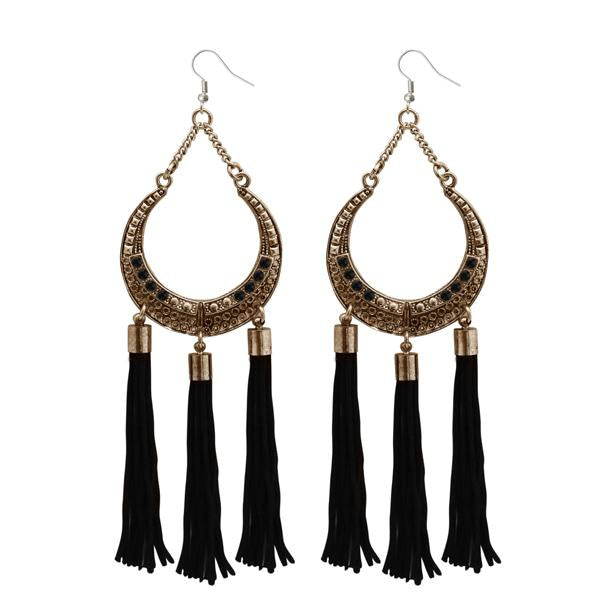 Jeweljunk Antique Gold Plated Stone Thread Earrings