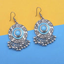 Jeweljunk Blue Silver Plated Meenakari Afghani Earrings - 1312431D