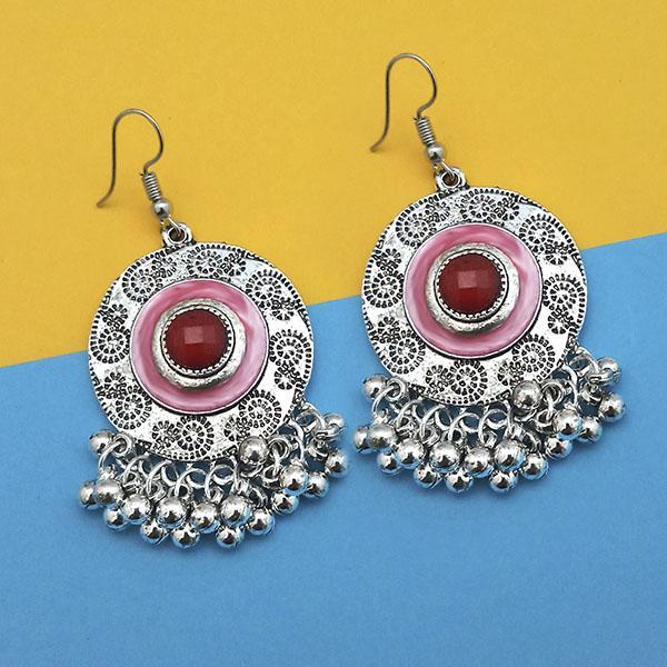 Jeweljunk Maroon Silver Plated Meenakari Afghani Earrings - 1312431E